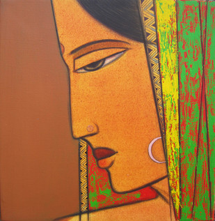 Radha by Ashok Rathod, Decorative Painting, Acrylic on Canvas, Brown color