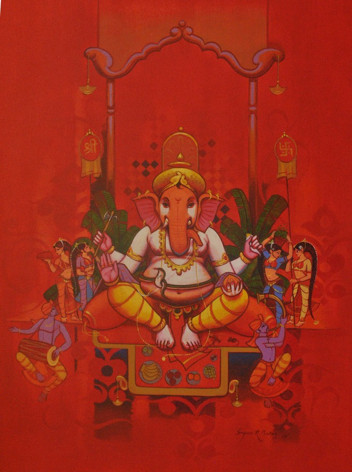 Ganesh Pooja by Sagar Pawar , Decorative Painting, Acrylic on Canvas,