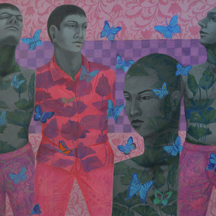 Reformation Of Human Nature 01 by Partha Mondal, Pop Art Painting, Oil & Acrylic on Canvas, Purple color