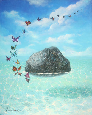 Freedom by Sabir Haque, Surrealism Painting, Acrylic on Canvas, Cyan color