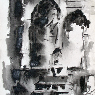 Old Fort by Sudhir Talmale, Impressionism Painting, Mixed Media on Paper, Gray color