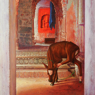 Benaras I by Anil Kumar Yadav, Realism Painting, Acrylic on Canvas, Brown color