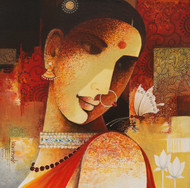 butterfly by Agacharya, Decorative Painting, Acrylic on Canvas, Brown color
