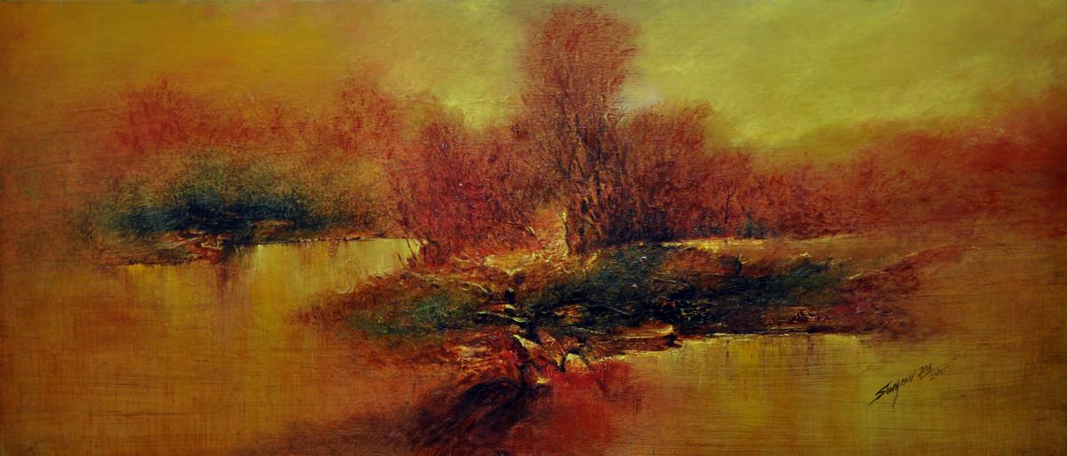 Sunset by Sanjeev K Das, Impressionism , Oil on Canvas, Brown color