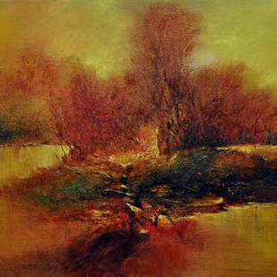 Sunset by Sanjeev K Das, Impressionism , Oil on Canvas, Brown color