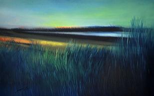 Landscape by Sanjeev K Das, Impressionism , Oil on Canvas, Blue color