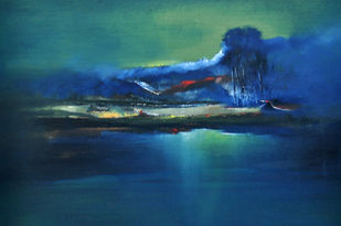 Untitled by Sanjeev K Das, Impressionism , Oil & Acrylic on Canvas, Blue color