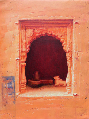 Benaras III by Anil Kumar Yadav, Decorative Painting, Acrylic on Canvas, Brown color