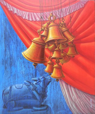 Aradhana V by Anil Kumar Yadav, Decorative Painting, Acrylic on Canvas, Blue color