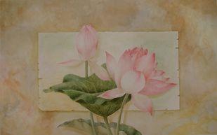 Jnana Padma 2 by Biju P Mathew, Realism Painting, Watercolor on Paper, Brown color