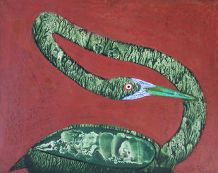 Lonely Xll by Rathindranath Chowdhury, Decorative Painting, Mixed Media on Board, Brown color
