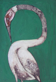 Lonely XVl by Rathindranath Chowdhury, Decorative Painting, Mixed Media on Board, Green color