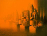 Evening in Banaras by Somnath Bothe, Impressionism Painting, Acrylic on Canvas, Orange color
