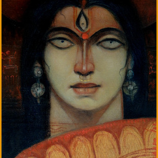 Durga by Arun Kumar Samadder, Decorative , Oil on Canvas, Brown color