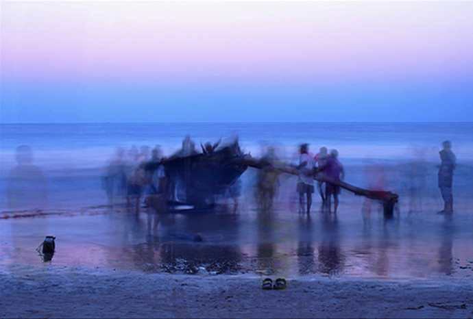 Boat 2 by Amit Bhandare, Image Photography, Digital Print on Paper, Blue color