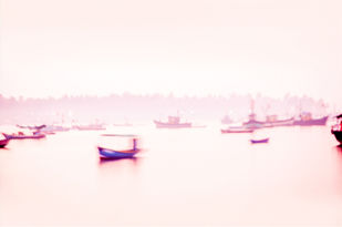 Jetty by Amit Bhandare, Image Photograph, Digital Print on Paper, Beige color