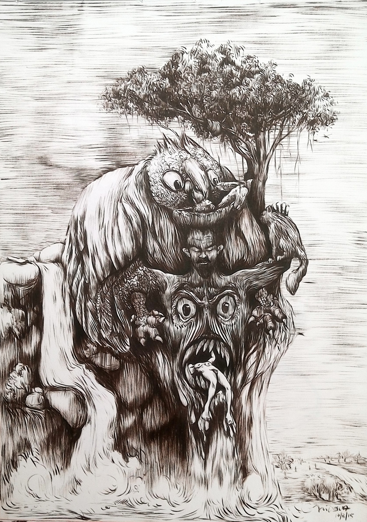 Untitled by Deivasigamani.M, Illustration Drawing, Ink on Paper, Gray color