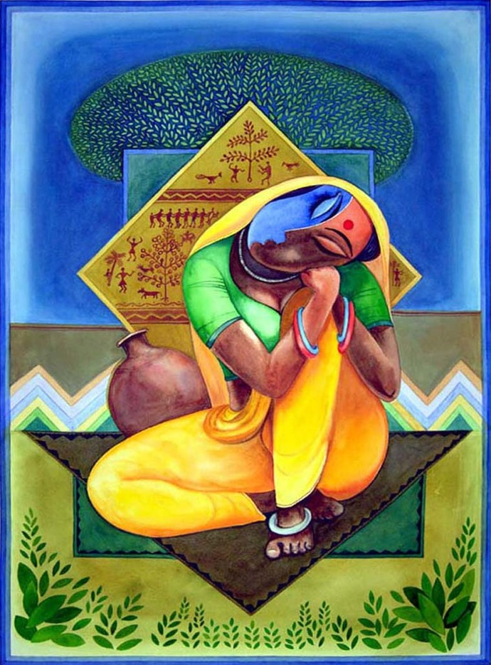 Lady In Rest Digital Print by Ajoy Chaudhary,Decorative