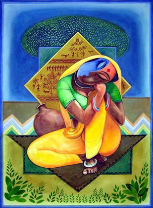 Lady In Rest by Ajoy Chaudhary, Decorative Painting, Watercolor on Paper, Green color