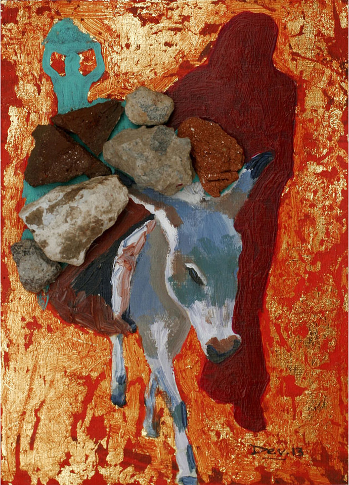 Untitled by Devender Goud, Decorative Painting, Mixed Media on Paper, Brown color