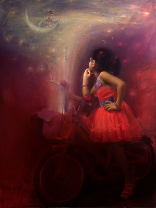 Apollo by Pramod Kurlekar, Decorative Digital Art, Oil on Linen, Brown color