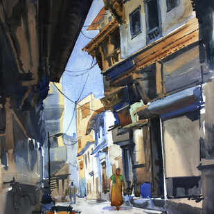 Ahmedabad Street 1 by Vikrant Shitole, Impressionism Painting, Watercolor on Paper, Gray color