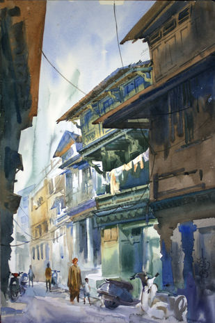 Ahmedabad Street 2 by Vikrant Shitole, Impressionism Painting, Watercolor on Paper, Gray color