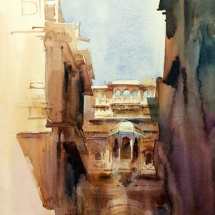 Patwa Haveli 4 by Vikrant Shitole, Impressionism Painting, Watercolor on Paper, Brown color
