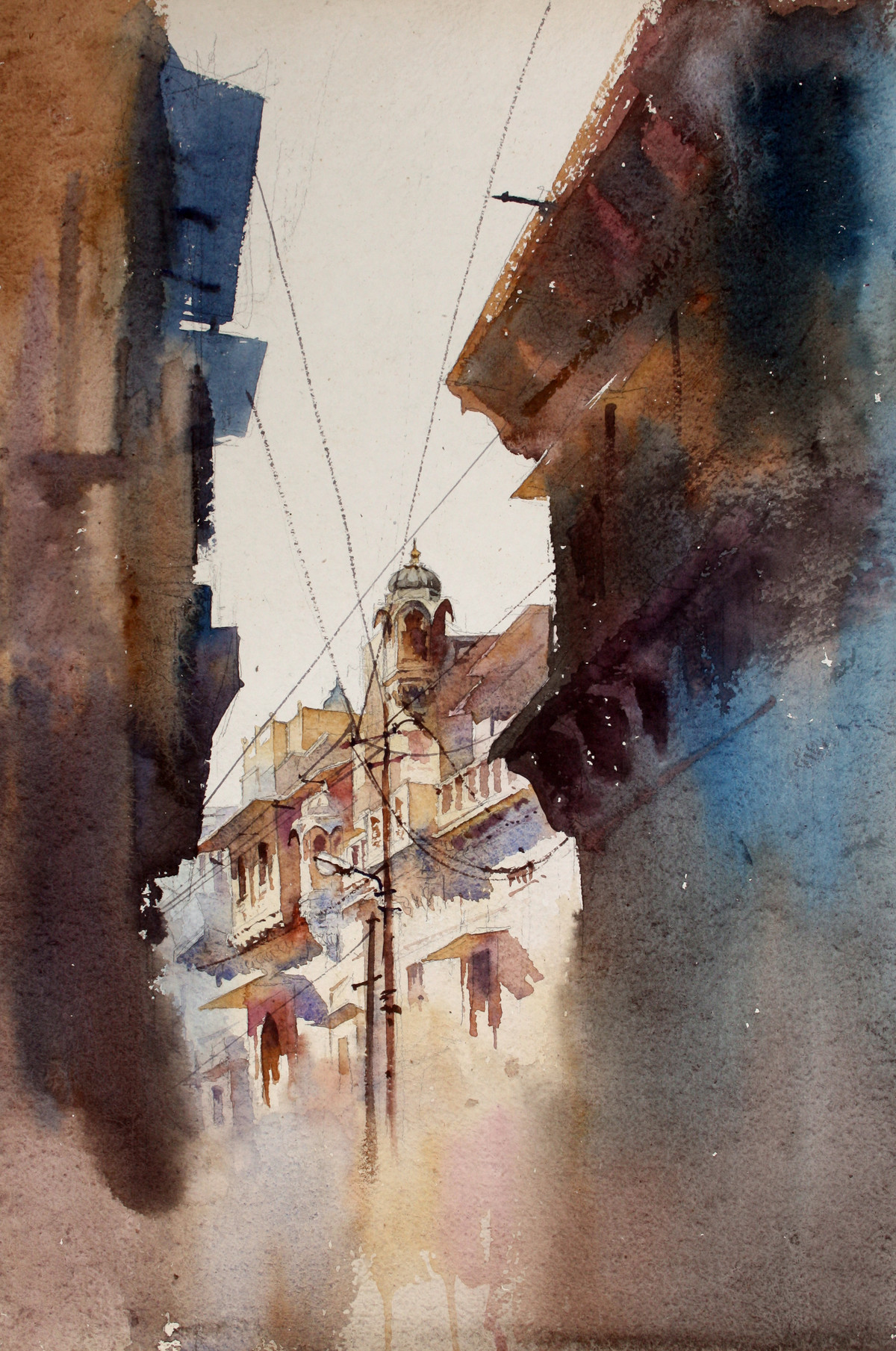 Jaiselmer Alley by Vikrant Shitole, Impressionism Painting, Watercolor on Paper, Brown color