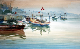 Reflections Don't Lie by Vikrant Shitole, Impressionism Painting, Watercolor on Paper, Beige color
