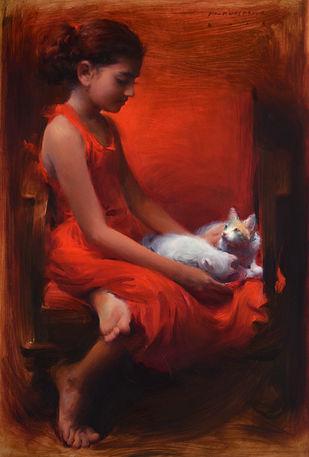 Gratitude by Pramod Kurlekar, Decorative , Oil on Linen, Brown color
