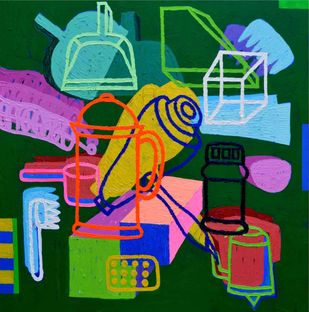 Elements 155 by Chandan Agrawal, Naive Painting, Acrylic on Canvas, Green color