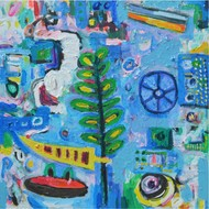 Elements 1 by Chandan Agrawal, Naive Painting, Acrylic on Canvas, Blue color