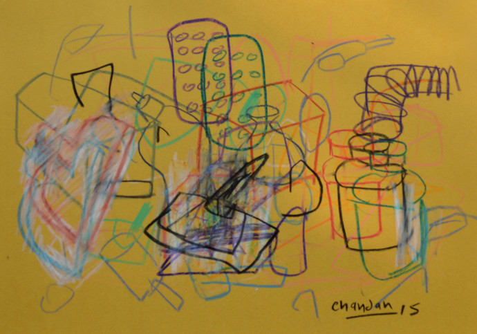 Elements 203 by Chandan Agrawal, Naive Drawing, Mixed Media on Paper, Brown color