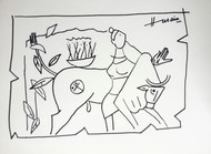 Untitled by M F Husain, Illustration Drawing, Ink on Paper, Gray color