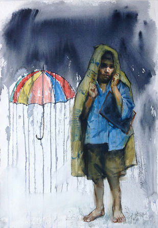 Rainy Days I by Manojkumar M.Sakale, Pop Art Painting, Watercolor on Paper, Cyan color