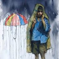 'raney days i' 14.5''x 21.5'' watercolour 30 000 glass 22''x28''