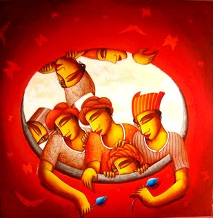 The Hole by Samir Sarkar, Decorative Painting, Acrylic on Canvas, Red color