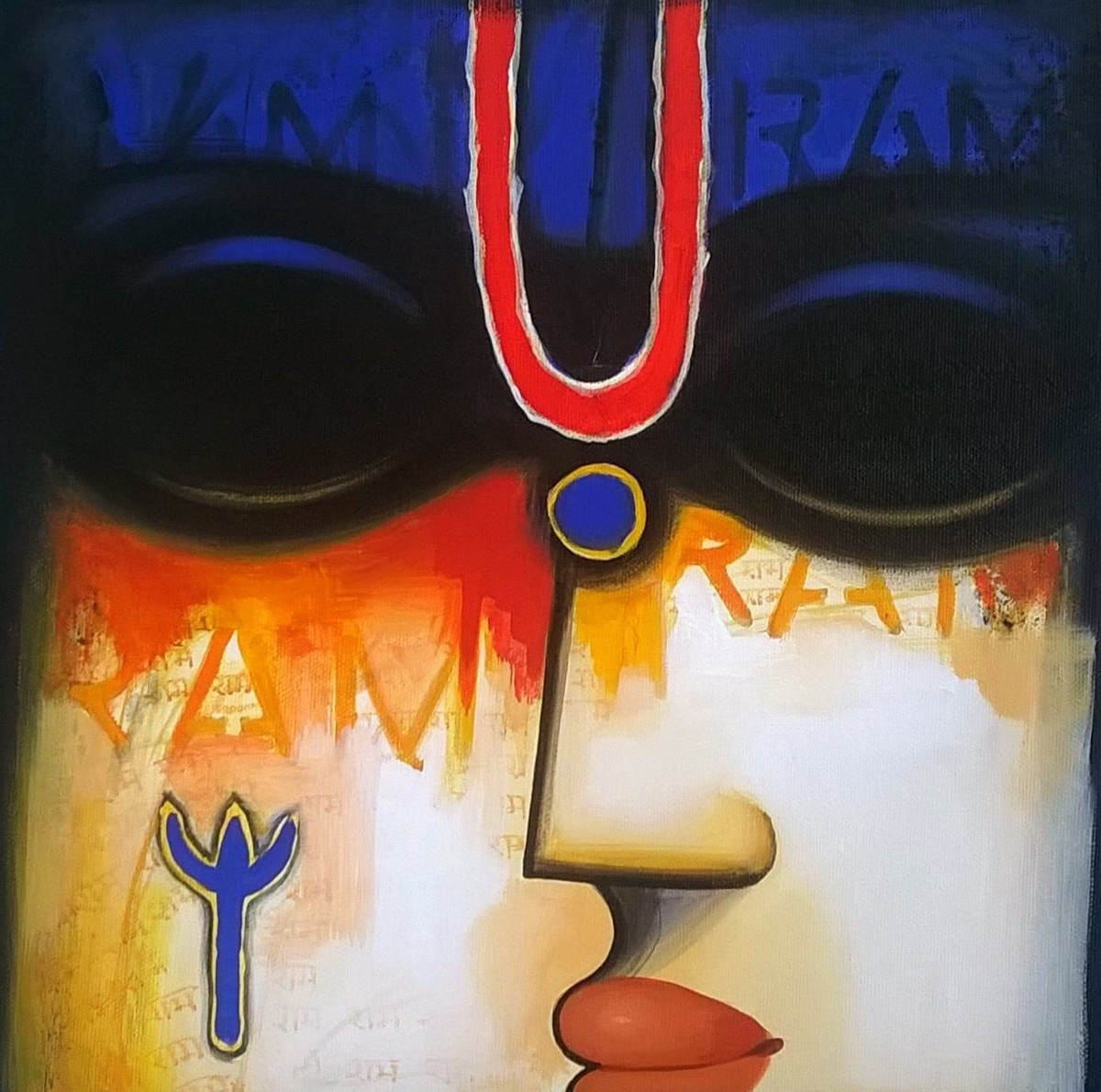 Untitled 1 by A.R. Mahajan, Decorative Painting, Acrylic on Canvas, Blue color