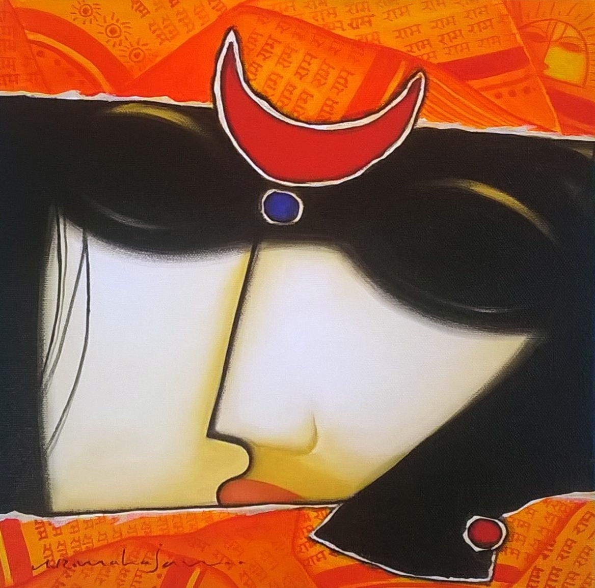 Untitled 2 by A.R. Mahajan, Decorative Painting, Acrylic on Canvas, Gray color