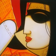 Untitled 3 by A.R. Mahajan, Decorative Painting, Acrylic on Canvas, Brown color