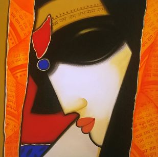 Untitled 4 by A.R. Mahajan, Decorative Painting, Acrylic on Canvas, Brown color