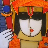 Untitled 5 by A.R. Mahajan, Decorative Painting, Acrylic on Canvas, Brown color