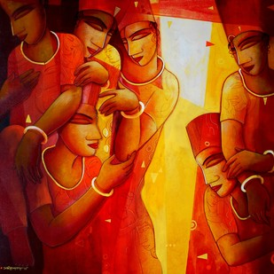 Inspiration 1 by Samir Sarkar, Decorative Painting, Acrylic on Canvas, Red color