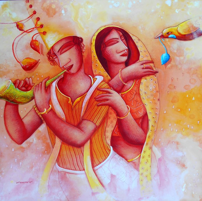 The Gift by Samir Sarkar, Decorative Painting, Acrylic on Canvas, Pink color