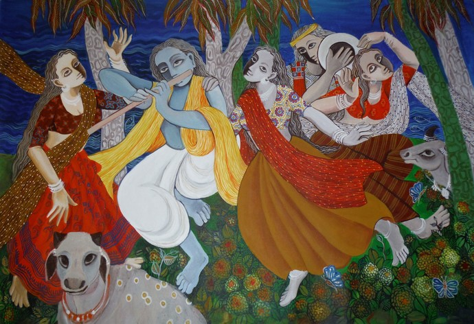 Raas by Jayshree P Malimath, Traditional Painting, Acrylic on Canvas, Brown color