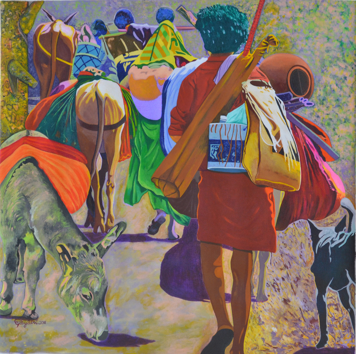 Searching For A New Shelter by Gayatri Artist, Photorealism Painting, Acrylic on Canvas, Brown color