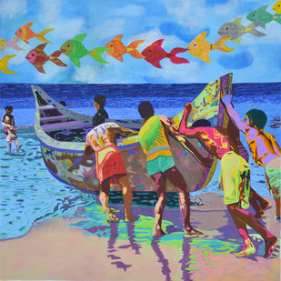 To Fetch Unknown Treasure by Gayatri Artist, Photorealism Painting, Acrylic on Canvas, Cyan color