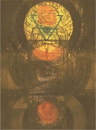 PRAKRITI-PURUSH by Dipak Benerjee, Naive Painting, Etching on Paper, Brown color