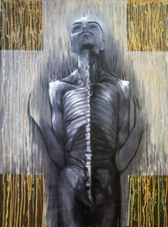 Nirash Bhaav by Kunal Jain, Expressionism Painting, Oil & Acrylic on Canvas, Gray color